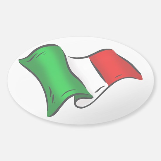 Wavy Italian Flag Sticker (Oval)