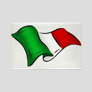 Wavy Italian Flag Rectangle Magnet