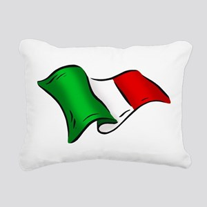 Waving Italian Flag Rectangular Canvas Pillow
