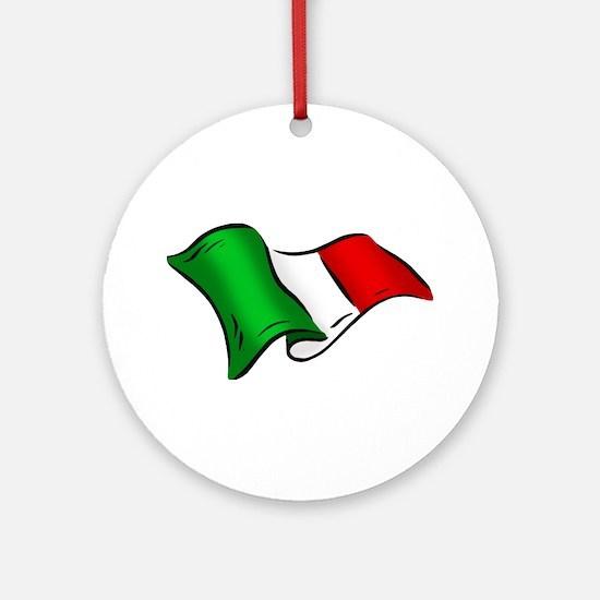 Wavy Italian Flag Ornament (Round)
