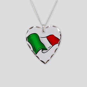 Wavy Italian Flag Necklace Heart Charm