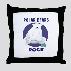 Polar Bears Rock Throw Pillow