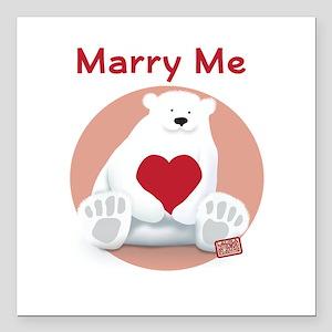 """Marry Me Polar Bear Square Car Magnet 3"""" x 3"""""""
