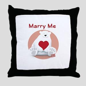 Marry Me Polar Bear Throw Pillow