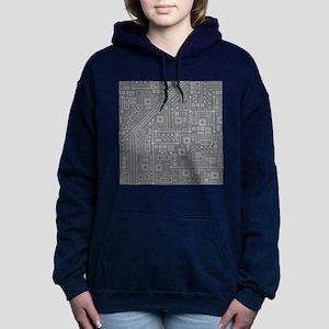 Gray Circuit Board Hooded Sweatshirt