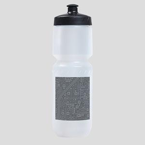 Gray Circuit Board Sports Bottle