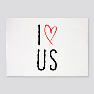 I love us text design with red heart 5'x7'Area Rug