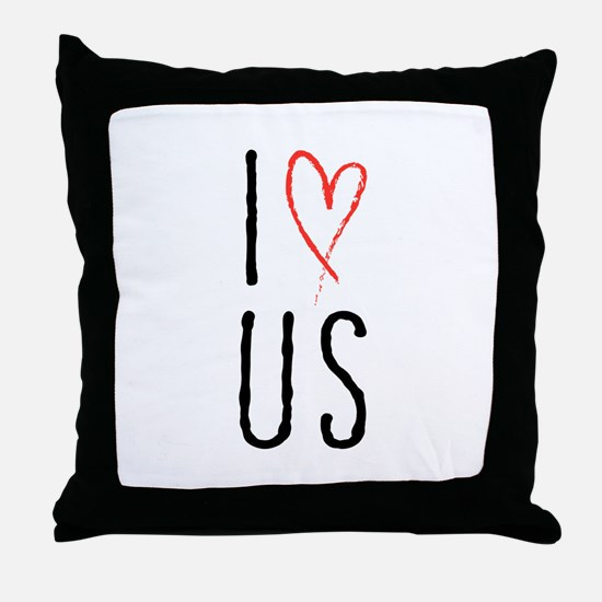 I love us text design with red heart Throw Pillow