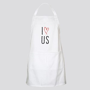 I love us text design with red heart Apron