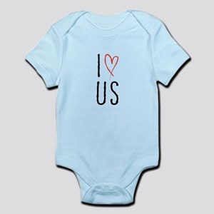 I love us text design with red heart Body Suit