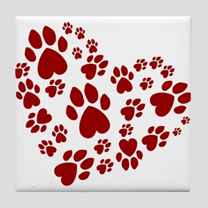 Pawprints Heart (Red) Tile Coaster