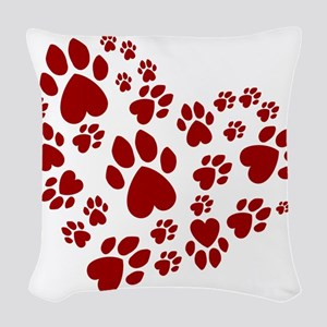 Pawprints Heart (Red) Woven Throw Pillow