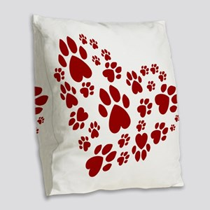 Pawprints Heart (Red) Burlap Throw Pillow