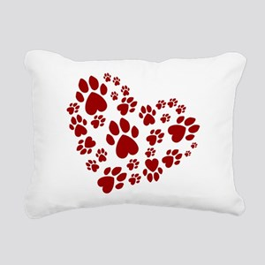 Pawprints Heart (Red) Rectangular Canvas Pillow