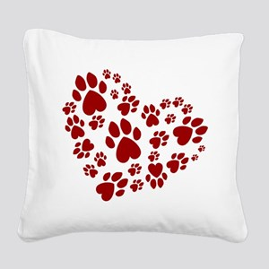 Pawprints Heart (Red) Square Canvas Pillow