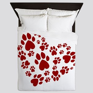 Pawprints Heart (Red) Queen Duvet