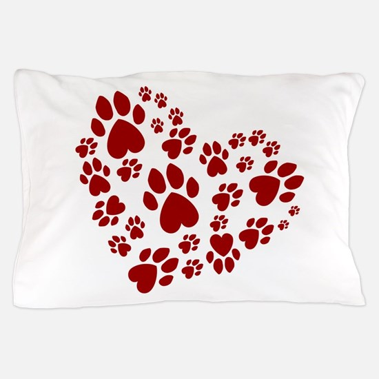 Pawprints Heart (Red) Pillow Case