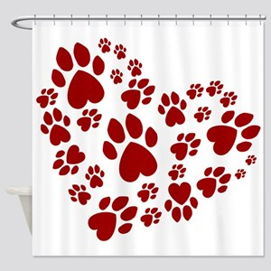 Pawprints Heart (Red) Shower Curtain