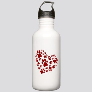 Pawprints Heart (Red) Stainless Water Bottle 1.0L