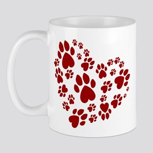 Pawprints Heart (Red) Mug