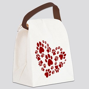 Pawprints Heart (Red) Canvas Lunch Bag