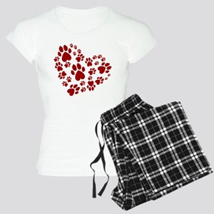 Pawprints Heart (Red) Women's Light Pajamas