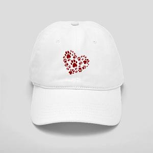 Pawprints Heart (Red) Cap