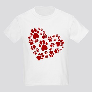 Pawprints Heart (Red) Kids Light T-Shirt