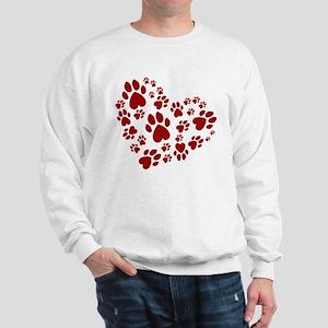 Pawprints Heart (Red) Sweatshirt