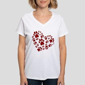 Pawprints Heart (Red) Women's V-Neck T-Shirt
