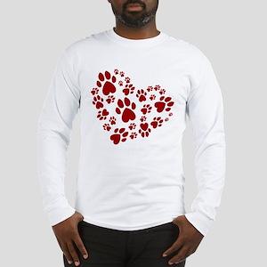 Pawprints Heart (Red) Long Sleeve T-Shirt