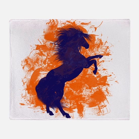 Denver Bucking Broncos Horse Throw Blanket