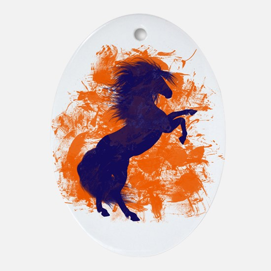 Denver Bucking Broncos Horse Ornament (Oval)