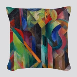 Stables by Franz Marc Woven Throw Pillow