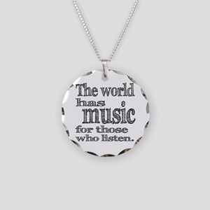 The World has Music Necklace Circle Charm