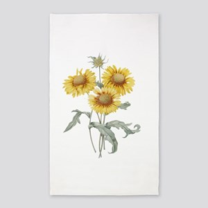 Vintage floral botanical art three sunflowers. Red