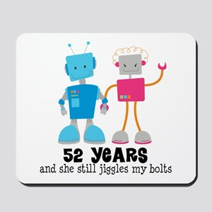 52 Year Anniversary Robot Couple Mousepad