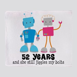 52 Year Anniversary Robot Couple Throw Blanket