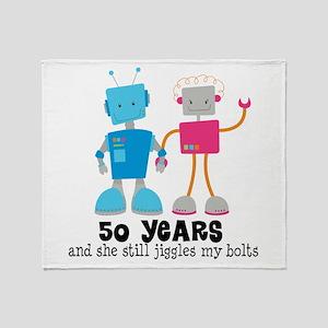 50 Year Anniversary Robot Couple Throw Blanket