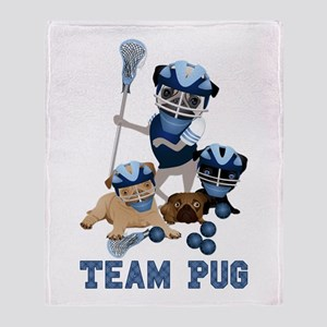 team pug lacrosse ts and Throw Blanket