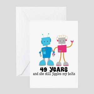 49 Year Anniversary Robot Couple Greeting Card
