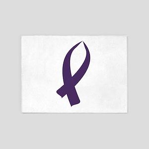 Awareness Ribbon (Purple) 5'x7'Area Rug