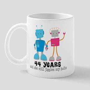 44 Year Anniversary Robot Couple Mug