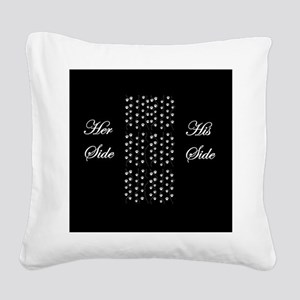 Her Side, His Side, Pets Square Canvas Pillow
