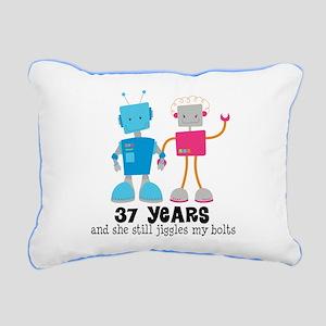 37 Year Anniversary Robot Couple Rectangular Canva