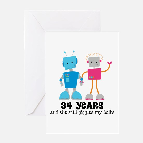 34 Year Anniversary Robot Couple Greeting Card