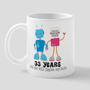 33 Year Anniversary Robot Couple Mug