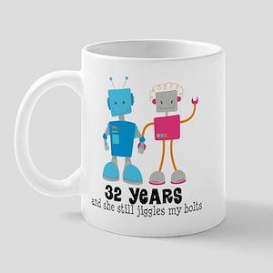 32 Year Anniversary Robot Couple Mug