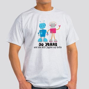 30 Year Anniversary Robot Couple Light T-Shirt