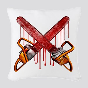 Bloody Chainsaws Woven Throw Pillow